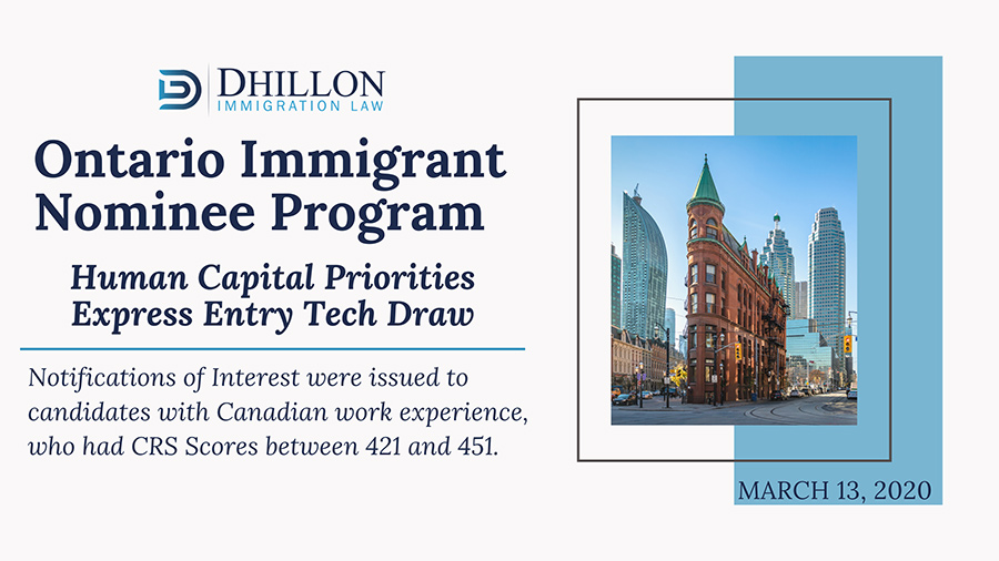 ONTARIO PNP HOLDS A TECH DRAW ON MAY 13, 2020
